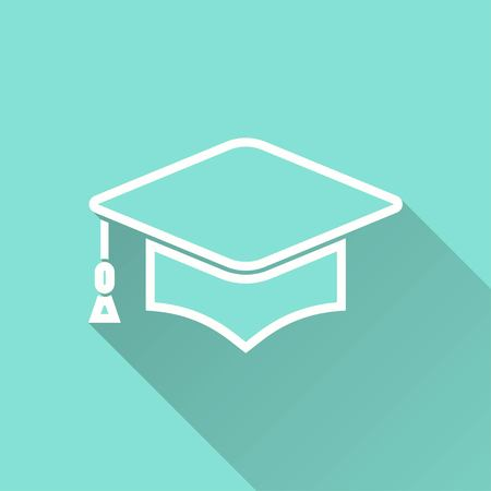 web cap: Graduation cap vector icon with long shadow. White illustration isolated on green background for graphic and web design.