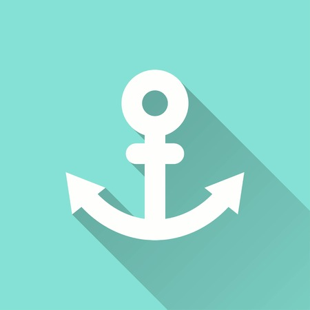 Anchor vector icon with long shadow. White illustration isolated on green background for graphic and web design.