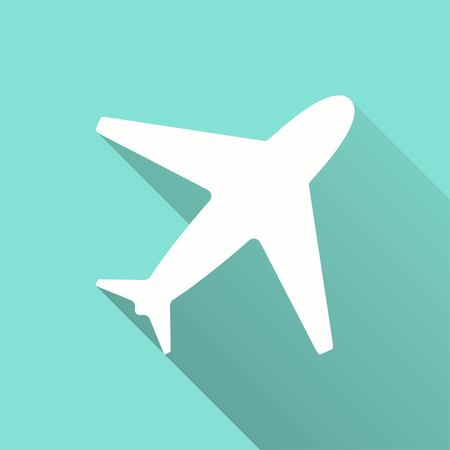 Airplane vector icon with long shadow. White illustration isolated on green background for graphic and web design.