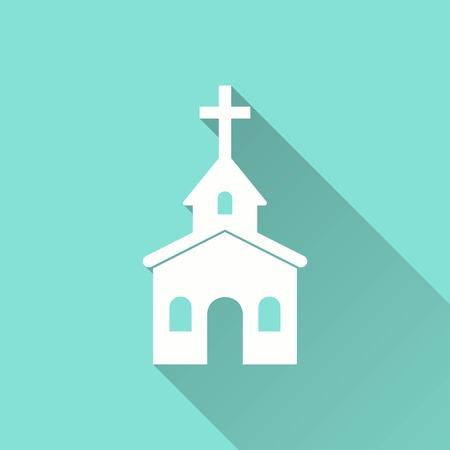 alter: Church vector icon with long shadow. White illustration isolated on green background for graphic and web design.