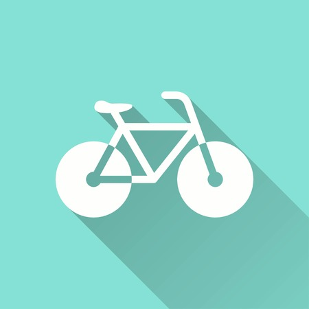 Bicycle vector icon with long shadow. White illustration isolated on green background for graphic and web design. Illustration
