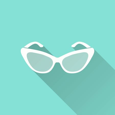 aviators: Sunglasses vector icon with long shadow. White illustration isolated on green background for graphic and web design.