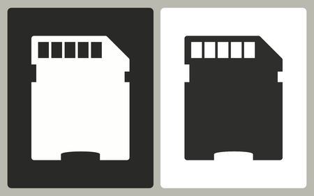 memory card: Memory card - black and white icons. Vector illustration.