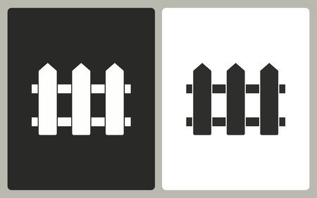 railings: Fence - black and white icons. Vector illustration.