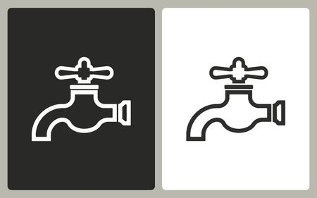 ooze: Faucet - black and white icons. Vector illustration.