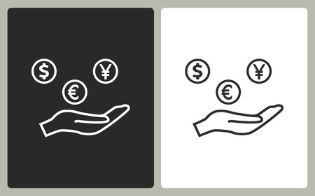 cash in hand: Cash on hand - black and white icons. Vector illustration.