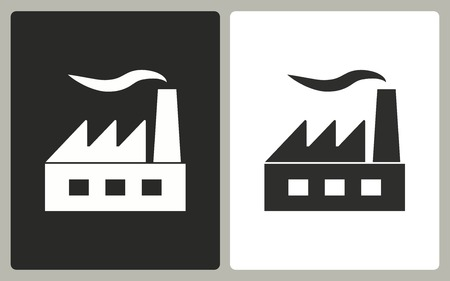 distillery: Factory - black and white icons. Vector illustration.