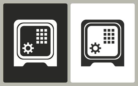financial stability: Safe - black and white icons. Vector illustration.