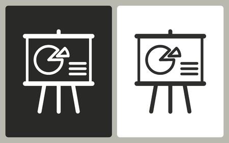 demonstrate: Presentation - black and white icons. Vector illustration. Illustration