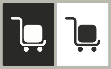 handcart: Handcart - black and white icons. Vector illustration.