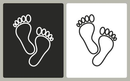 black foot: Foot - black and white icons. Vector illustration.