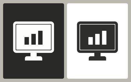 diagnosing: Diagram screen - black and white icons. Vector illustration. Illustration