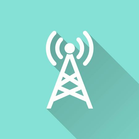 communication tower: Communication tower vector icon with long shadow. White illustration isolated on green background for graphic and web design.