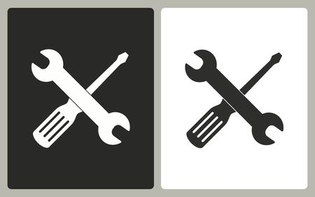 Tool - zwart-wit pictogrammen. Vector illustratie.