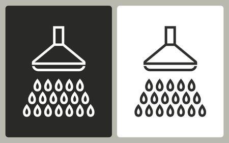 showering: Shower - black and white icons. Vector illustration. Illustration