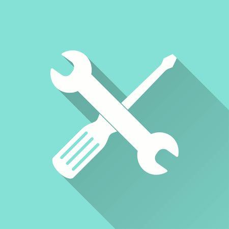 Vector gereedschapspictogram met lange schaduw. Witte illustratie geïsoleerd op groene achtergrond voor grafische en webdesign. Vector Illustratie