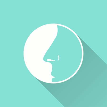 sniff: Nose vector icon with long shadow. White illustration isolated on green background for graphic and web design. Illustration