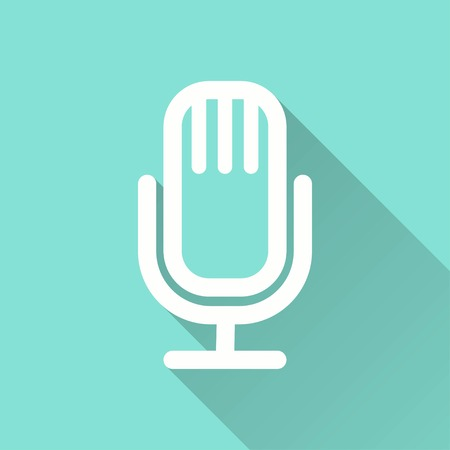 amplification: Microphone vector icon with long shadow. White illustration isolated on green background for graphic and web design.