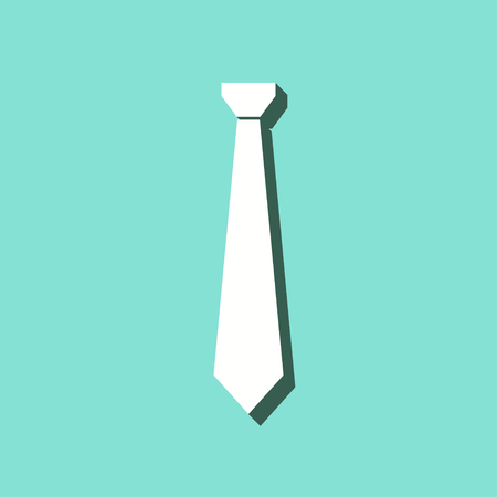 Necktie vector icon with shadow. White illustration isolated on green background for graphic and web design. Illustration