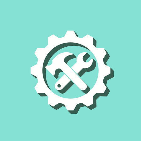 Tool vector icon with shadow. White illustration isolated on green background for graphic and web design.