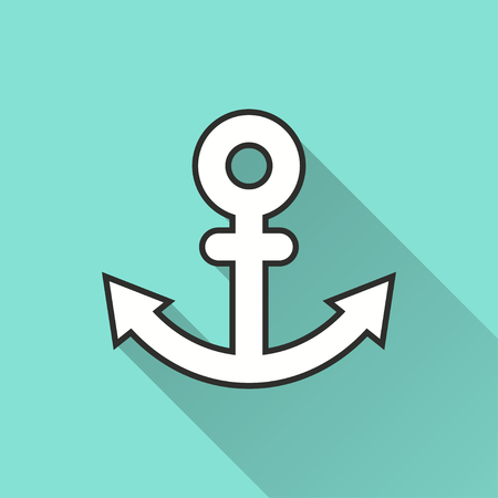 Anchor vector icon with long shadow. Illustration isolated on green background for graphic and web design.