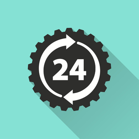 24 hour service vector icon with long shadow. Illustration isolated on green background for graphic and web design.