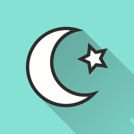 lullaby: Moon star vector icon with long shadow. Illustration isolated on green background for graphic and web design.