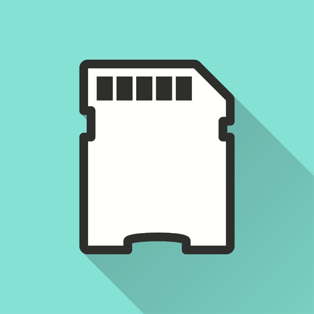 memory card: Memory card vector icon with long shadow. Illustration isolated on green background for graphic and web design.