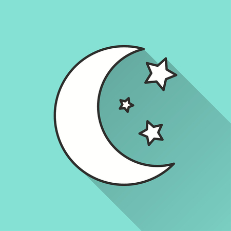 Moon star vector icon with long shadow. Illustration isolated on green background for graphic and web design.