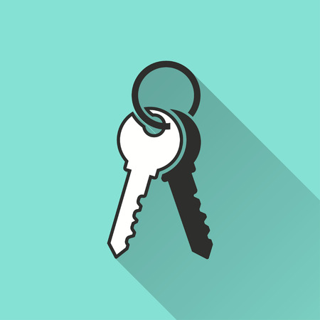 Key vector icon with long shadow. Illustration isolated on green background for graphic and web design.