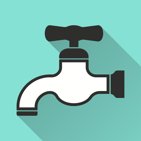 stopcock: Faucet vector icon with long shadow. Illustration isolated on green background for graphic and web design. Illustration
