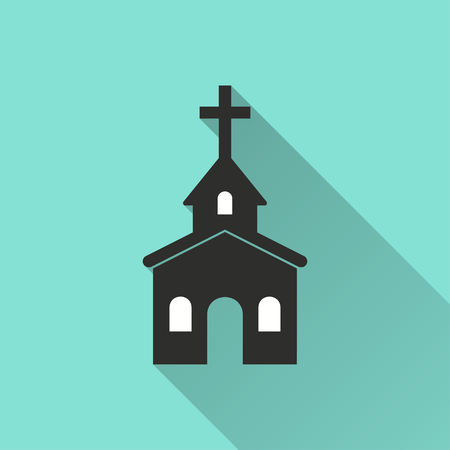 Church vector icon with long shadow. Illustration isolated on green background for graphic and web design. Illustration