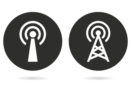 communication tower: Communication tower vector icon. White illustration isolated on black background for graphic and web design.