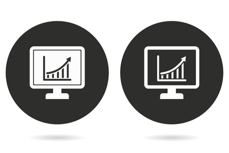 diagnosing: Diagram screen vector icon. White illustration isolated on black background for graphic and web design.