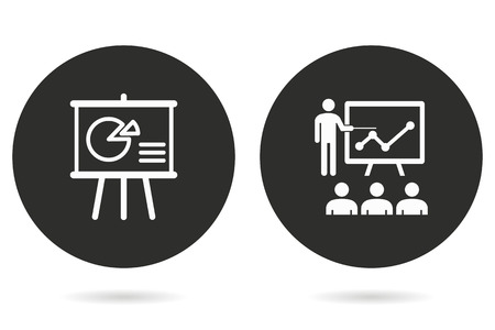 Management consulting vector icon. White illustration isolated on black background for graphic and web design. Çizim