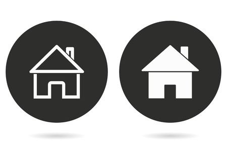 abode: Home vector icon. White illustration isolated on black background for graphic and web design.