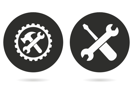 Hulpprogramma vector pictogram. Witte illustratie geïsoleerd op zwarte achtergrond voor grafische en webdesign. Vector Illustratie