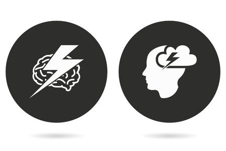 brainstorm: Brainstorm vector icon. White illustration isolated on black background for graphic and web design. Illustration