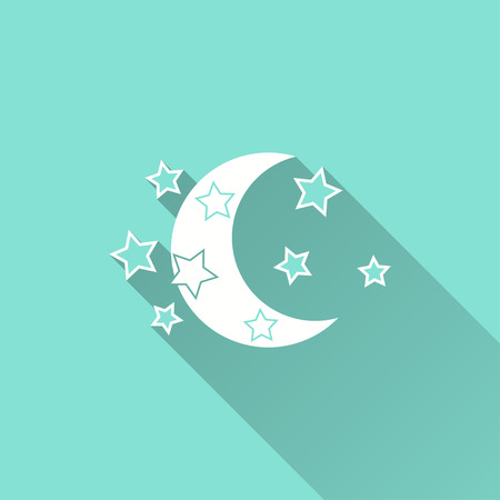 lullaby: Moon star vector icon with long shadow. White illustration isolated on green background for graphic and web design. Illustration