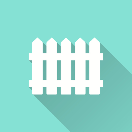 picket green: Fence vector icon with long shadow. White illustration isolated on green background for graphic and web design.