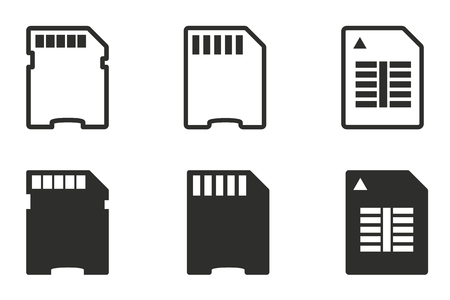 memory card: Memory card vector icons set. Black illustration isolated on white background for graphic and web design.