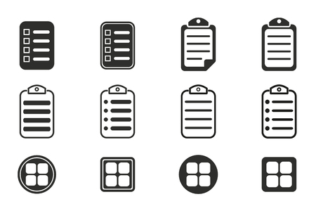 web portal: Menu vector icons set. Black illustration isolated on white background for graphic and web design.