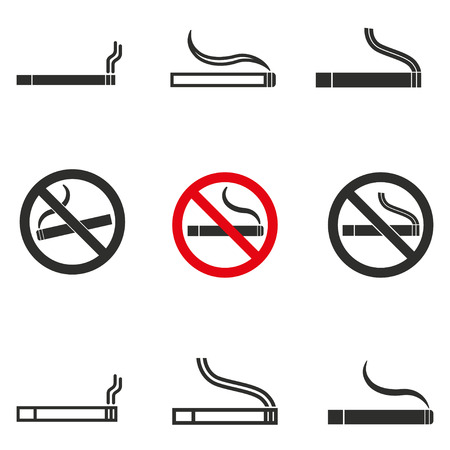 pernicious habit: Smoke vector icons set. Black illustration isolated on white background for graphic and web design.