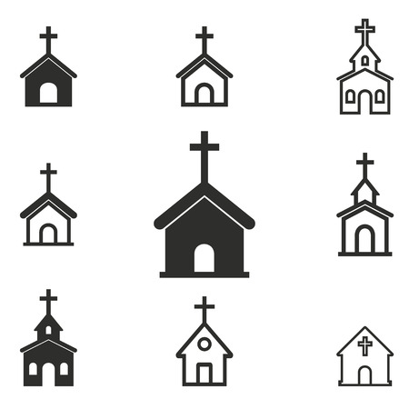 Church vector icons set. Black illustration isolated on white background for graphic and web design.