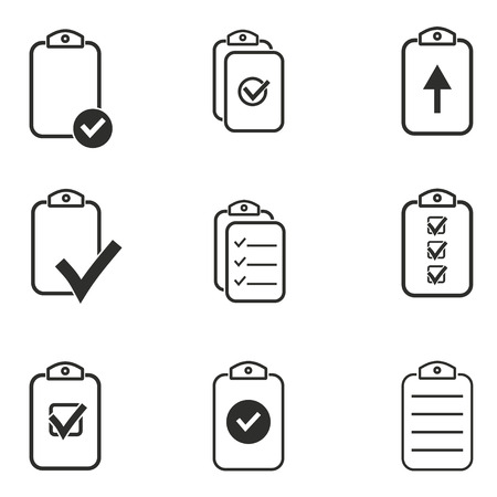 roster: Clipboard vector icons set. Black illustration isolated on white background for graphic and web design.