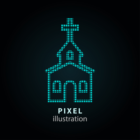 alter: Church - pixel icon. Vector Illustration. Design  element. Isolated on black background. It is easy to change to any color. Illustration