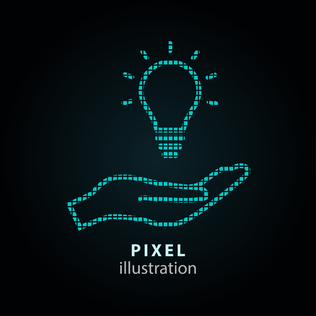 philanthropist: Donate - pixel icon. Vector Illustration. Design  element. Isolated on black background. It is easy to change to any color.