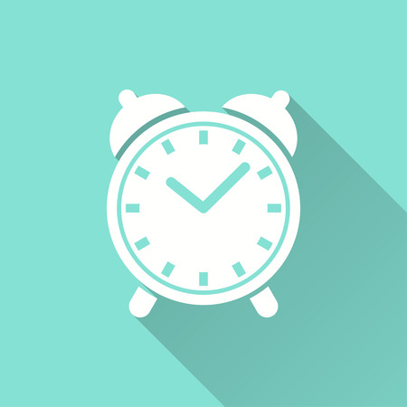 Clock vector icon with long shadow. White illustration isolated on green background for graphic and web design.
