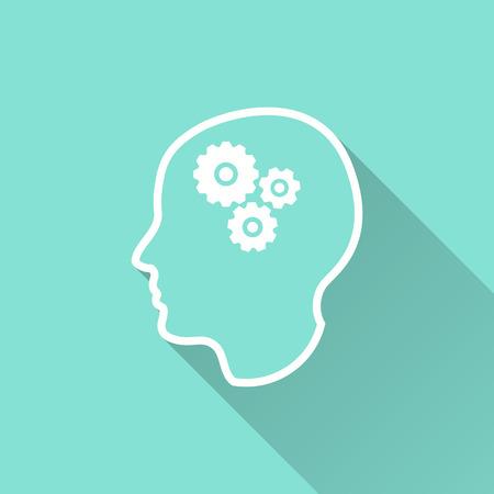 Icona del cervello con una lunga ombra. illustrazione bianco isolato su sfondo verde per la progettazione grafica e web.