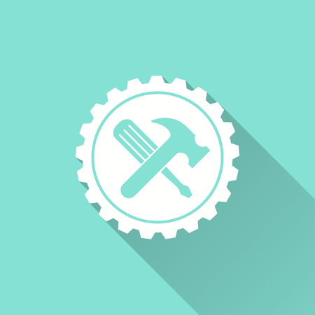 in the reconstruction: Tool vector icon with long shadow. White illustration isolated on green background for graphic and web design. Illustration
